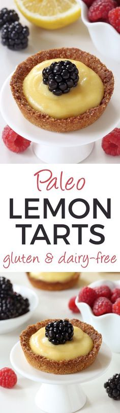 Honey-sweetened Paleo Mini Lemon Tarts (grain-free, gluten-free, dairy-free)