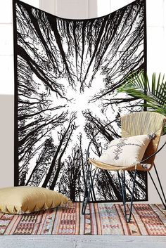 Beautiful Black and White Forest Tapestry Urban Outfitters New Exclusive Hippie | eBay