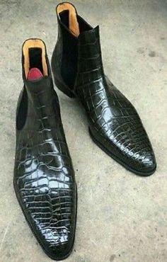 Custom Handmade Men,s Chelsea Black Leather Crocodile Texture Ankle Boots, #Handmade #ChelseaBoots