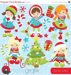 80% OFF SALE Christmas girls clipart commercial use, christmas kids, girls vector graphics, digital clip art, digital images  - CL759