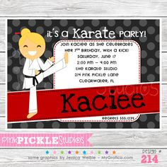 Karate Kids Personalized Party Invitation