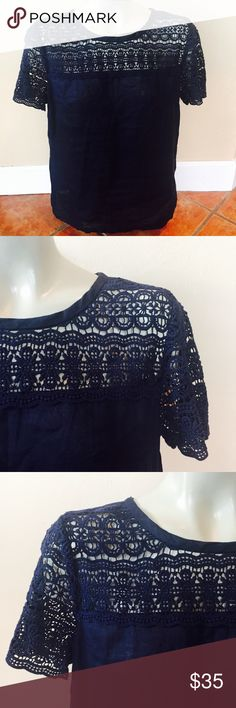 J Crew Navy Blue Lace Pullover Blouse Eyelet Linen J Crew Navy Blue Lace Pullover Blouse Eyelet Linen  Size 6 Summer Career Casual Super cute Eyelet pattern along the neck and shoulders. Lightweight blouse perfect for the summer months. 100% linen. Lace is 100% cotton. Preowned excellent condition J. Crew Tops Blouses