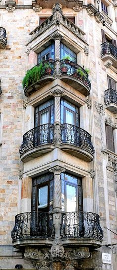 Old Architecture Balcony Design Barcelona, Spain! It's in La Gran Via de las Corts Catalanes