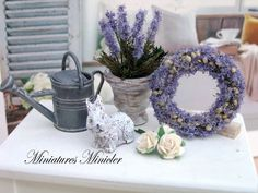 Miniature+Dollhouse+Lavender+Decoration+Set+by+Minicler+on+Etsy,+$25.64