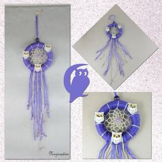 Attrape-rêves violet trio de chouettes ou hibou de soie blanche - Un grand marché