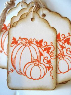 Love them! Pumpkin Holiday Thanksgiving Gift Tags Orange by CharonelDesigns, $3.95