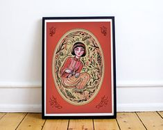 Forest girl, red, A3 poster - special price