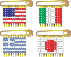 MakingFriends International Flag Pins These simple instructions and colored patterns will help your Girl Scout troop make impressive looking SWAPS for many countries represented at Thinking Day or International events. Safety Pin Art, Safety Pin Crafts, Safety Pin Jewelry, Safety Pins, Kids Safety, Girl Scout Swap, Girl Scout Troop, Scout Leader, Cub Scouts