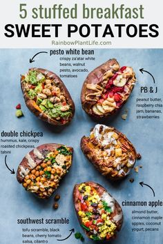 5 Stuffed Breakfast Sweet Potatoes (Vegan, GF) Stuffed Sweet Potatoes for Breakfast, 5 different recipes (vegan and gluten-free)! Whether you want sweet and savory, these easy, healthy recipes make any morning better! Vegan Dinners, Healthy Dinner Recipes, Whole Food Recipes, Vegetarian Recipes, Cooking Recipes, Vegan Sweet Potato Recipes, Vegan Stuffed Sweet Potato, Loaded Sweet Potato, Stuffed Sweet Potatoes