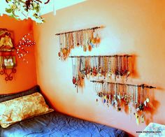 DIY Curtain Rod Jewelry Display from Mich L. in L.A. here. I really like this idea because it is cheap, practical and expandable. For more DIY jewelry displays (including ideas for craft fairs) go here: truebluemeandyou.tumblr.com/tagged/jewelry-display