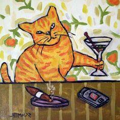 Orange Cat  ginger cat  martini  martini art  by SCHMETZPETZ