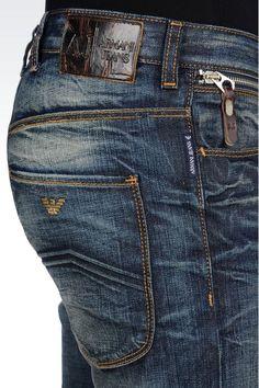 DARK WASH ANTI-FIT JEANS: Jeans Men by Armani - 0