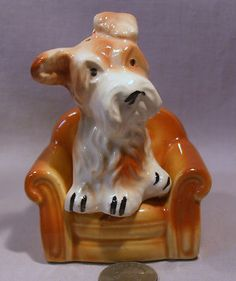 Vintage Scottie Dog Sitting in A Chair s P Shakers