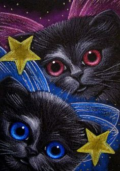 BLACK FAIRY KITTENS 8 Black Cat Art, Black Cats, Black Fairy, Les Gifs, Cat Cards, Halloween Cat, Cat Drawing, Colorful Drawings, Art Portfolio