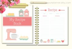 Printable recipe book coral and mint recipe binder by purrplanner Recipe Book Templates, Printable Recipe Cards, Recipe Organization, Planner Organization, Mint Recipes, Budget Recipes, Blank Cookbook, Scrapbook Recipe Book, Recipe Drawing