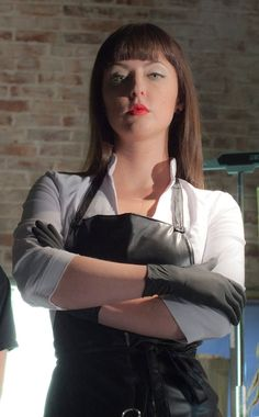 Katherine Isabelle in 'American Mary,' by Jen and Sylvia Soska. American Mary, Katharine Isabelle, Plastic Aprons, Pvc Apron, Scream Queens, Horror Films, Leather Gloves, Mistress, Bob Hairstyles
