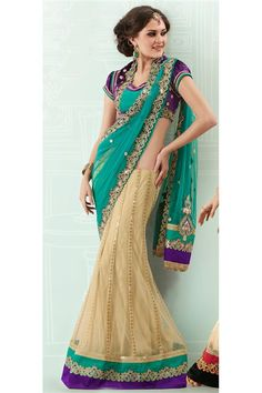 Get this Teal, Beige Designer Lehenga Choli @ FLAT 50% off. No coupon code required.