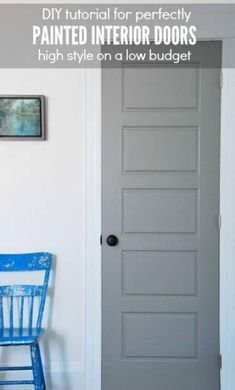 Want to get a factory finish on your interior doors? Here are my tips for DIY perfectly painted doors! We chose a dark gray paint for our doors to act as a graphic impact to the white walls. Click over for the full list of tips and the tutorial! Interior Door Colors, Grey Interior Doors, Painted Interior Doors, Grey Doors, Painted Doors, Interior Painting, Pastel Interior, Living Room Paint, My Living Room