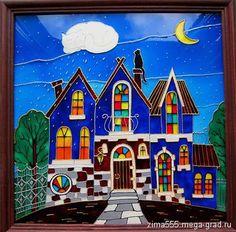 """Картина на стекле """"Ночь в сказочном городе"""" - витражи, картины фентези. МегаГрад - главный ресурс мастеров и художников"""