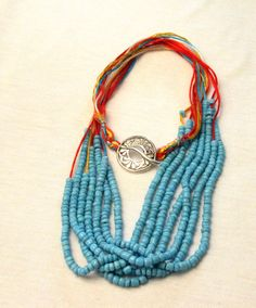 Coral & sea blue beaded long fashion necklace with silk strings, 7 strands of glass beads  21stCenturyWoman