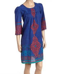 This Royal & Red Abstract Pleated Shift Dress - Women is perfect! #zulilyfinds