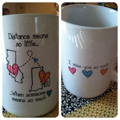 Long distance relationship mug for $20, shipping included! It is a great way to remind your loved one how much you miss him/her! I bought this cute little mug on etsy.com from BabyCakeLane