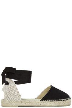 d4a9efa3b3a8 Brushed suede espadrilles in black. Round toe. Grosgrain self-tie ankle  strap in