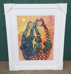 "Love this work of art and the way it is framed! The colors really pop in this white frame with white mat. A vibrant and colorful work of art by Larry ""Poncho"" Brown reminding us what family is really about! #blackart #family #blackfamily..."