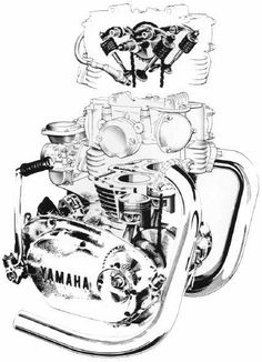 Cutaway of the XS650 Engine. http://www.InTheWind.org