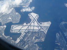 An aerial view of Boston Logan International Airport