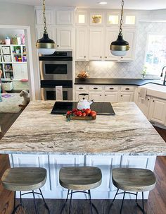 Those who want a softer aesthetic may opt to have their Fantasy Brown countertops honed to a satiny matte finish. If the broad movement of this stone seems too dramatic for the desired ambience, honing the stone to a subtle shine or a matte can tone down the boldness, while retaining the beauty of the different shades.