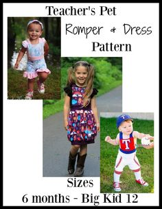 Teacher's Pet Romper & Dress Pattern – Ellie and Mac Pdf Sewing Patterns, Baby Patterns, Ellie And Mac Patterns, Girls Jumpers, Romper Pattern, Teachers Pet, Baby Sewing Projects, Romper Dress, Baby Kids Clothes
