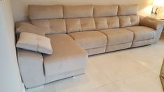 Large Meridian sofa and chaise in plush velvet fabric. Sofa with electric reclining seats. Chaise with sliding seat feature and storage. Delivered to our client in London. Modern Sofa, Modern Bedroom, Contemporary Furniture, Sofa Bed Mattress Cover, Leather Bed, Fabric Sofa, Sofa Design, Sofas, Plush