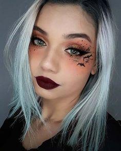 Bat Makeup, Dark Eye Makeup, Eye Makeup Art, Scary Makeup, Costume Makeup, Halloween Eyeshadow, Cute Halloween Makeup, Purple Halloween, Halloween Makeup Looks