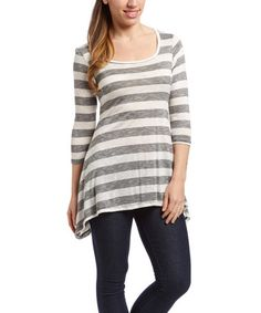 Love this Gray & White Stripe Sidetail Top on Spring Tops, Tunic Tops, Gray, Sweaters, Women, Fashion, Moda, Fashion Styles, Grey