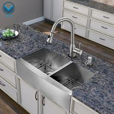 VIGO All In One 36 Inch Farmhouse Stainless Steel Double Bowl Kitchen Sink  And Faucet