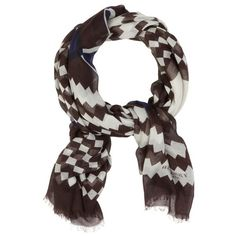 Burberry Graphic Print Scarf (130 KWD) ❤ liked on Polyvore featuring accessories, scarves, burberry, fringe scarves, fringed shawls, burberry shawl and burberry scarves