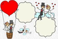 Wedding: Couple in Balloon Free Printable Invitations. Wedding Labels, Wedding Cards, Wedding Invitations, Free Printable Invitations, Free Printables, Free Wedding, Our Wedding, Wedding Illustration, Clinic Design