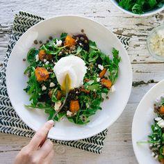 Brunch   Lentil salad with fresh arugula, roasted beets + butternut ...