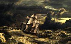 Tall ship in a storm! Sailing Gear, Pirate Life, Sail Away, Tall Ships, Monument Valley, Pirates, Weather, Ocean, Nature