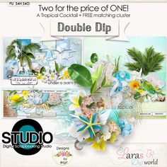 Double Dip: A Tropical Cocktail ~ TWO KITS FOR THE PRICE OF ONE + FREE matching cluster created using both kits!
