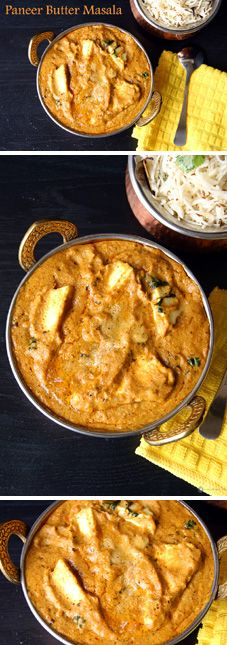"""""""Paneer Butter Masala"""" - A wonderful, rich and delicious North Indian gravy made from Indian Cottage cheese (paneer). Goes well with any Indian Flat bread, Butter Naan being my favorite. Refer to Notes section for Vegan option. Paneer Recipes, Indian Food Recipes, Vegetarian Recipes, Cooking Recipes, Soup Recipes, Recipies, North Indian Recipes, Curry Recipes, Paneer Dishes"""