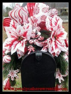 Holiday Mailbox Swags, Christmas Mailbox Swags by Petal Pusher's Wreaths & Designs! A lovely mailbox swag! Love the detail! Christmas Swags, Holiday Wreaths, Holiday Crafts, Christmas Decorations, Christmas Ornaments, Outdoor Christmas, Box Decorations, Christmas Door, Holiday Decorating