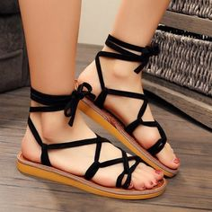 Lace Up Flat Heel Sandals (1,530 INR) ❤ liked on Polyvore featuring shoes, sandals, laced up flat sandals, laced sandals, lace-up heel sandals, flat footwear and laced up shoes