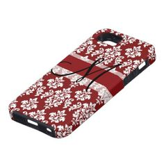 Damask Monogram iPhone 5 Case Red Black