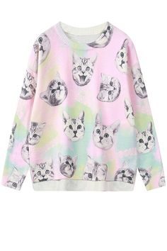 0078e6519c6c6 Colorful pastel thin sweater for cat lovers. Size  One free size Measures   length 57 cm