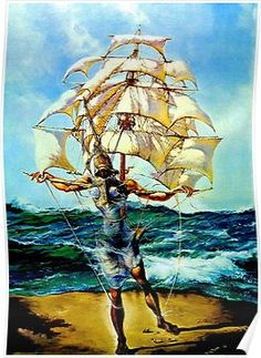 Framed Print - Salvador Dali Man and Ship in the Ocean (Painting Picture Poster) Magritte, Salvador Dali Gemälde, Salvador Dali Paintings, Pablo Picasso, Digital Art Illustration, Jean Arp, Alberto Giacometti, Fantasy Paintings, Surreal Art