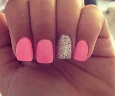 Pink and silver nails.