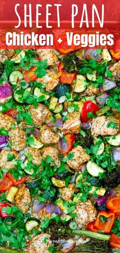 No fuss sheet pan chicken and vegetables, tossed with garlic, oregano, and a splash of citrus. A healthy weeknight meal Mediterranean Diet Recipes, Mediterranean Dishes, Kitchen Recipes, Cooking Recipes, Pan Cooking, Meal Recipes, Greek Recipes, Recipies, Dinner Recipes