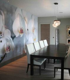 Great contrast between, design and the open space of the room, placement patterns. White Orchids, Color Inspiration, Contrast, Dining Table, Textiles, Wallpapers, Display, Patterns, Space